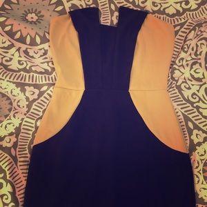 Nude/Black Strapless Dress